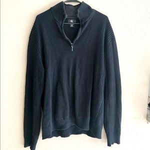 Calvin Klein black 1/4 zip cotton sweater, XL